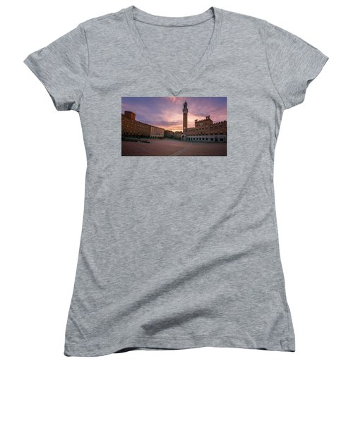 Women's V-Neck T-Shirt (Junior Cut) featuring the photograph Il Campo Dawn Siena Italy by Joan Carroll