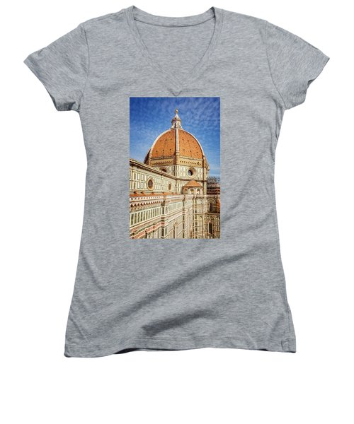 Women's V-Neck T-Shirt (Junior Cut) featuring the photograph Il Duomo Florence Italy by Joan Carroll