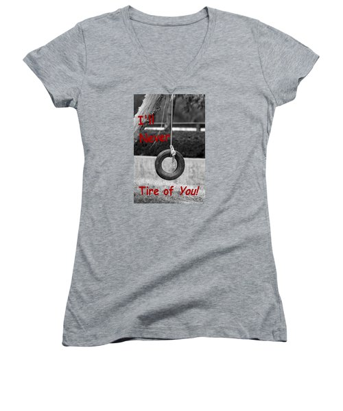 Women's V-Neck T-Shirt (Junior Cut) featuring the photograph I'll Never Tire Of You by Bob Pardue