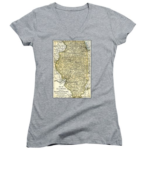 Illinois Antique Map 1891 Women's V-Neck T-Shirt (Junior Cut) by Phil Cardamone