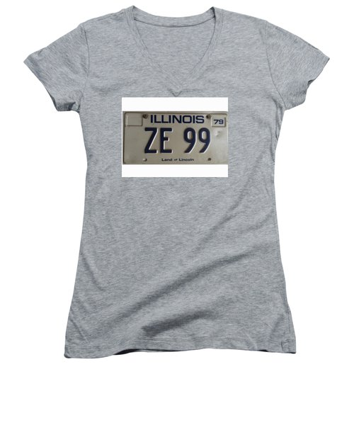 Illinois License Women's V-Neck (Athletic Fit)
