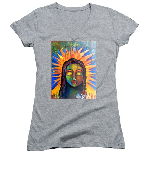 Illuminated By Her Own Radiant Self Women's V-Neck T-Shirt (Junior Cut) by Prerna Poojara