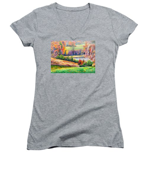 Illuminating Colors Of Fall Women's V-Neck T-Shirt (Junior Cut) by Lee Nixon
