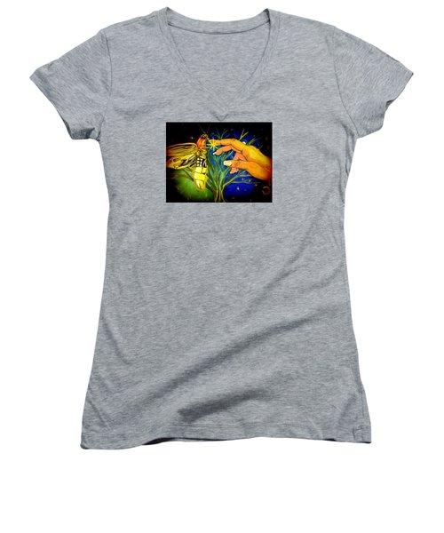 Illumination Women's V-Neck T-Shirt (Junior Cut) by Alexandria Weaselwise Busen