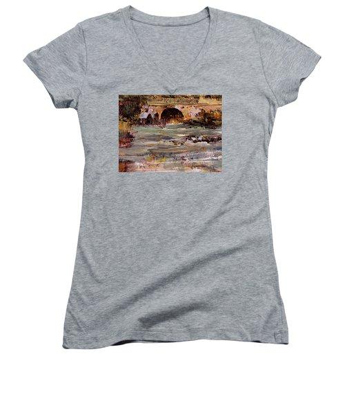 Imaginary Travel Women's V-Neck T-Shirt (Junior Cut) by Nancy Kane Chapman