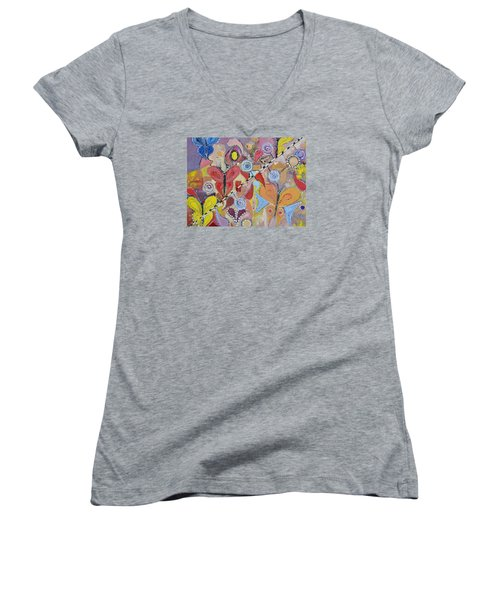 Imagination Land Women's V-Neck T-Shirt (Junior Cut) by Evelina Popilian