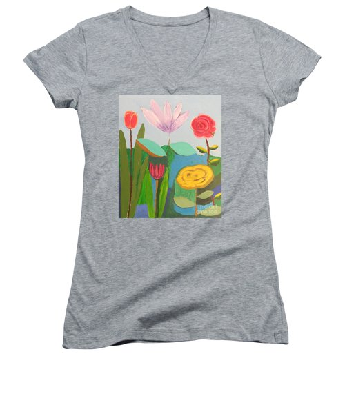 Women's V-Neck T-Shirt featuring the painting Imagined Flowers One by Rod Ismay