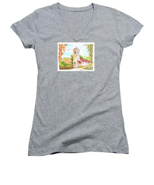 Immaculate Concepcion Catholic Church, Sierra Nevada, California Women's V-Neck T-Shirt (Junior Cut) by Carlos G Groppa