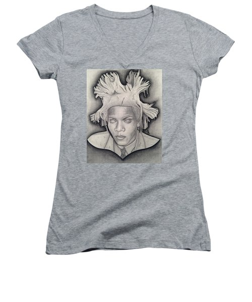 Immortalizing In Stone Jean Michel Basquiat Drawing Women's V-Neck T-Shirt