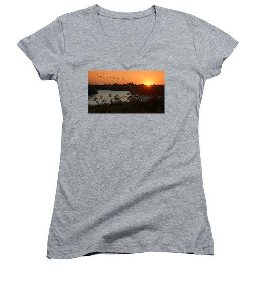 Impalila Island Sunrise Women's V-Neck T-Shirt (Junior Cut) by Joe Bonita