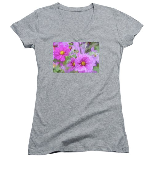 Impasto Cosmos Women's V-Neck T-Shirt (Junior Cut) by Bonnie Bruno