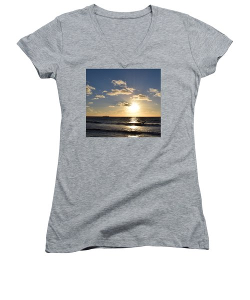 Sunset Reflection At Imperrial Beach Women's V-Neck (Athletic Fit)