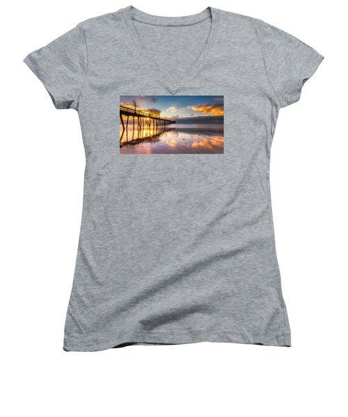 Women's V-Neck T-Shirt (Junior Cut) featuring the photograph Imperial Burst by Ryan Weddle