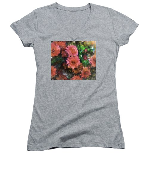 Bronze And Pink Mums Women's V-Neck