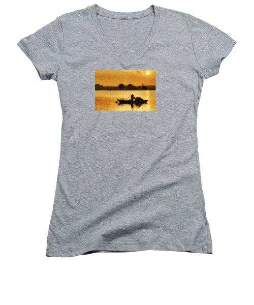 Women's V-Neck T-Shirt (Junior Cut) featuring the digital art Impressionist Dawn by Cameron Wood