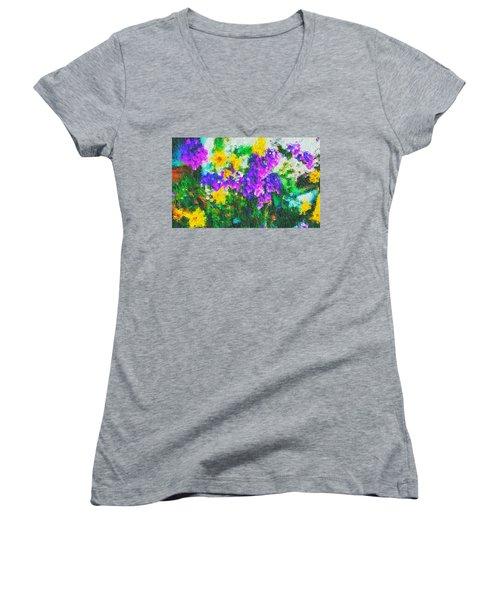 Impressionist Floral Women's V-Neck T-Shirt
