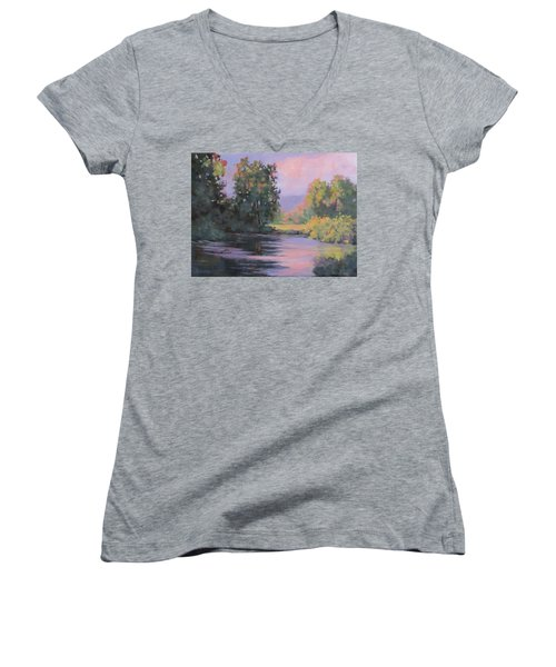 Women's V-Neck T-Shirt (Junior Cut) featuring the painting In Another Light by Karen Ilari
