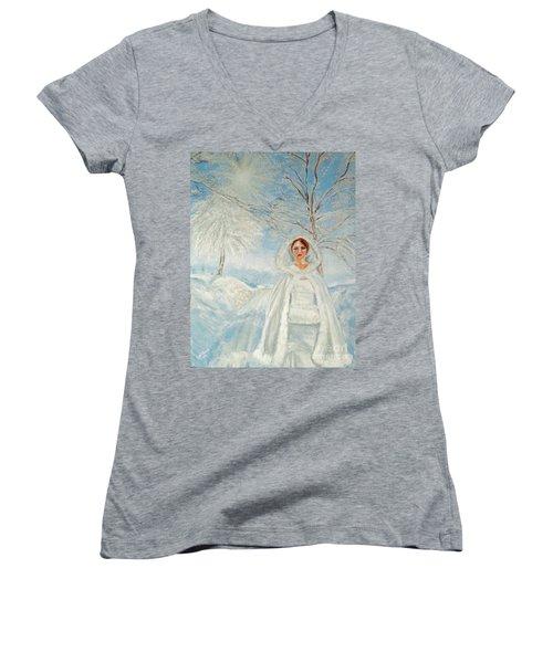In Beauty I Walk Women's V-Neck T-Shirt (Junior Cut) by Lyric Lucas