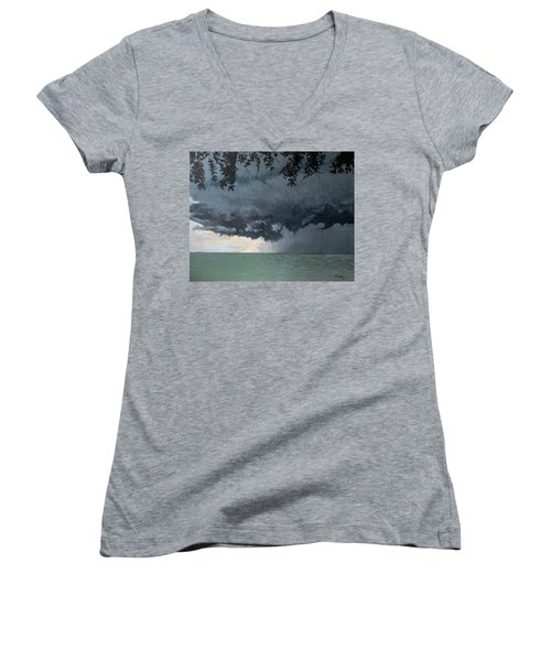 In Coming Storm-epping Forest On The Lake Women's V-Neck (Athletic Fit)