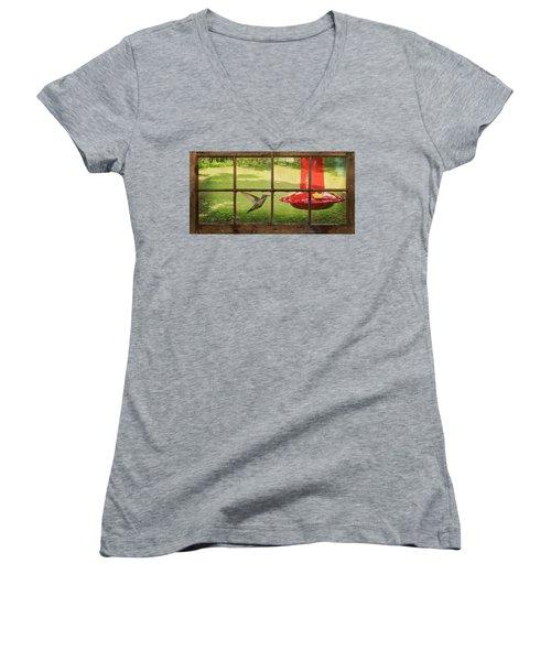 In Flight Women's V-Neck T-Shirt (Junior Cut) by Denis Lemay