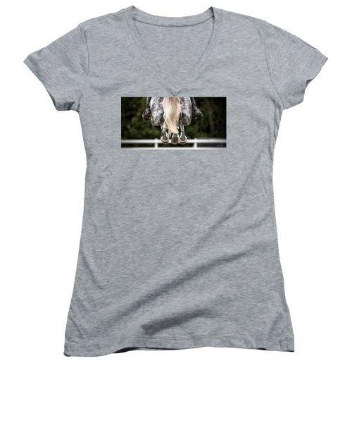 In Flight Women's V-Neck T-Shirt (Junior Cut) by Joan Davis