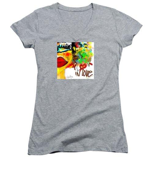 In Love  Women's V-Neck T-Shirt (Junior Cut) by Sladjana Lazarevic