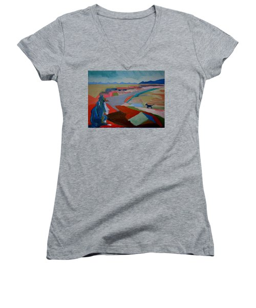 Women's V-Neck T-Shirt (Junior Cut) featuring the painting In My Land by Francine Frank