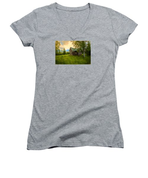 Women's V-Neck T-Shirt (Junior Cut) featuring the photograph In Peace In Your Grace by Rose-Maries Pictures