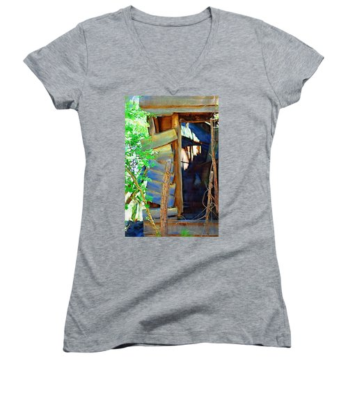 Women's V-Neck T-Shirt (Junior Cut) featuring the photograph In Shambles by Donna Bentley