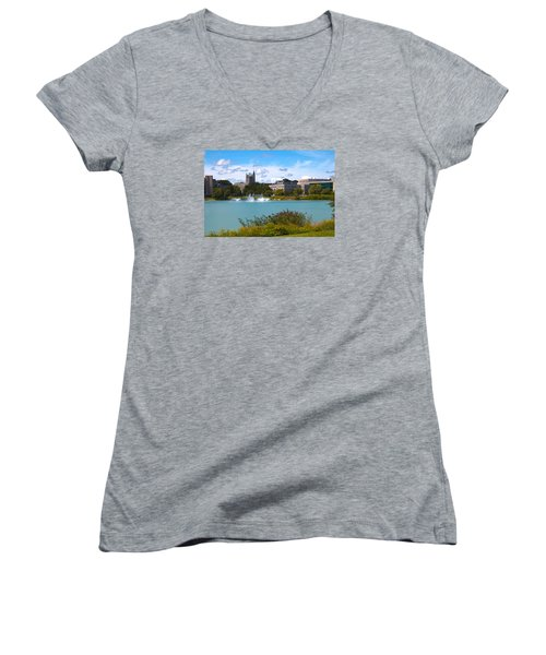 Women's V-Neck T-Shirt (Junior Cut) featuring the photograph In The Afternoon by Milena Ilieva