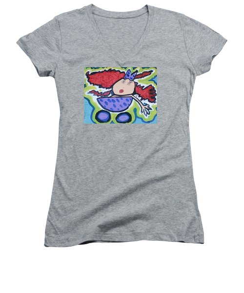 In The Baby Carriage Women's V-Neck T-Shirt (Junior Cut) by Artists With Autism Inc