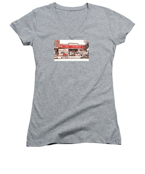 Women's V-Neck T-Shirt (Junior Cut) featuring the painting In The Beginning by LeAnne Sowa