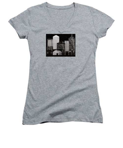 In The City Women's V-Neck T-Shirt (Junior Cut) by Kathy Sheeran