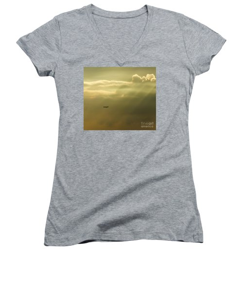 In The Clouds  Women's V-Neck T-Shirt (Junior Cut) by Christy Ricafrente