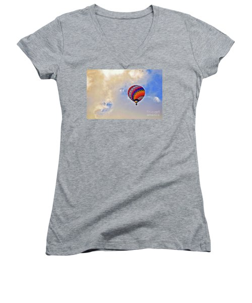 Women's V-Neck T-Shirt (Junior Cut) featuring the photograph In The Clouds by Gina Savage