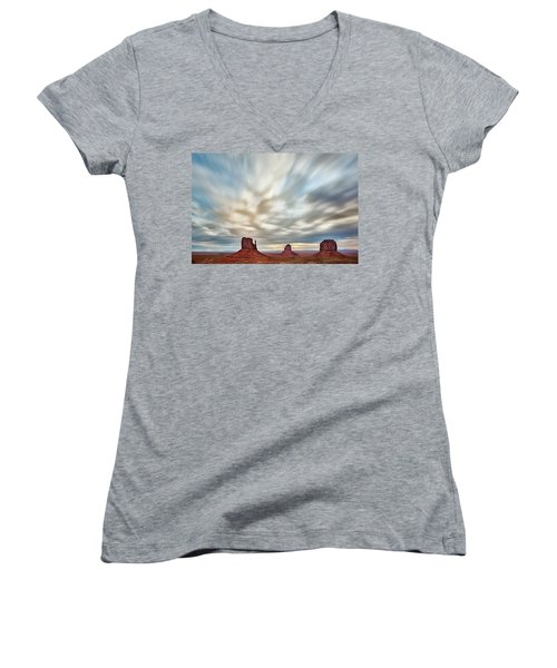 Women's V-Neck T-Shirt (Junior Cut) featuring the photograph In The Clouds by Jon Glaser