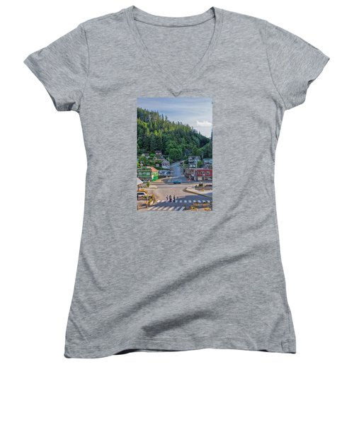 In The Crosswalk Women's V-Neck T-Shirt (Junior Cut) by Lewis Mann