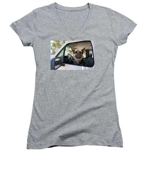 In The Driver's Seat  Women's V-Neck T-Shirt