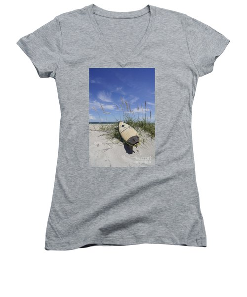 In The Dunes Women's V-Neck T-Shirt (Junior Cut) by Benanne Stiens
