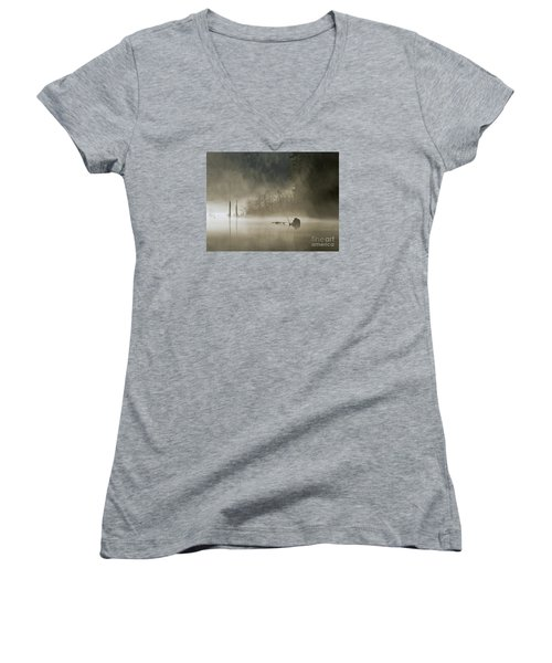 Women's V-Neck T-Shirt (Junior Cut) featuring the photograph In The Fog by Inge Riis McDonald