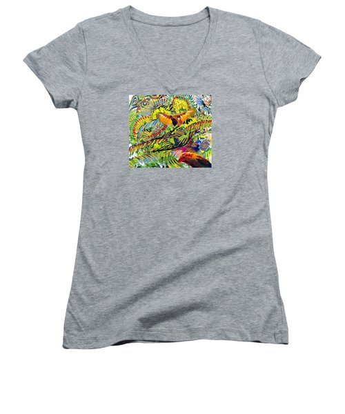 Birds In The Forest Women's V-Neck (Athletic Fit)