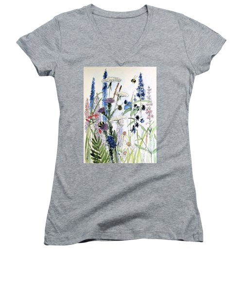 In The Garden Women's V-Neck T-Shirt (Junior Cut) by Laurie Rohner