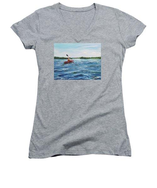 In The Kayak Women's V-Neck T-Shirt (Junior Cut) by Jack Skinner