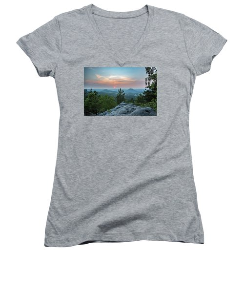 In The Land Of Mesas Women's V-Neck T-Shirt (Junior Cut) by Andreas Levi
