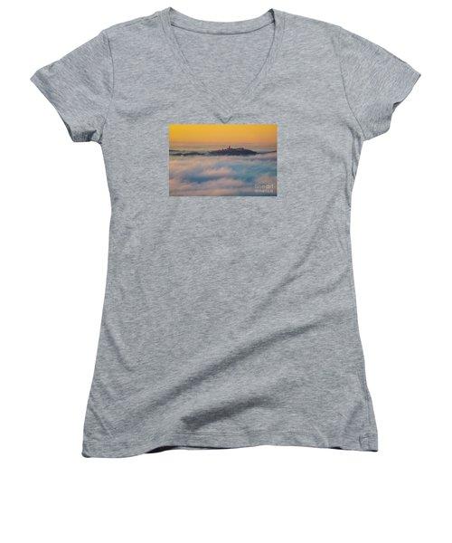 In The Mist 3 Women's V-Neck T-Shirt (Junior Cut) by Jean Bernard Roussilhe