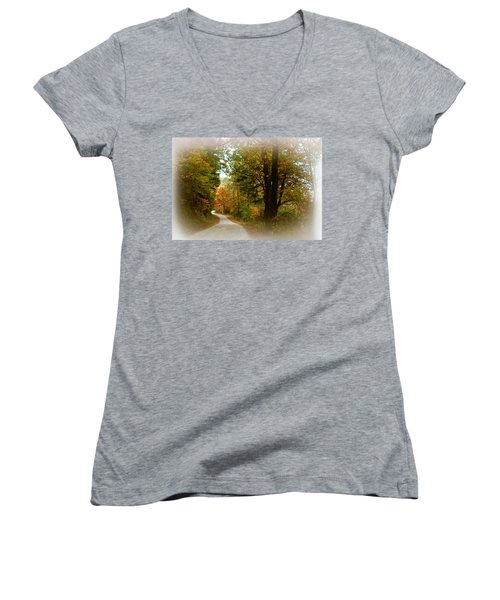 Women's V-Neck T-Shirt (Junior Cut) featuring the digital art In The Mountains Of Georgia by Sharon Batdorf