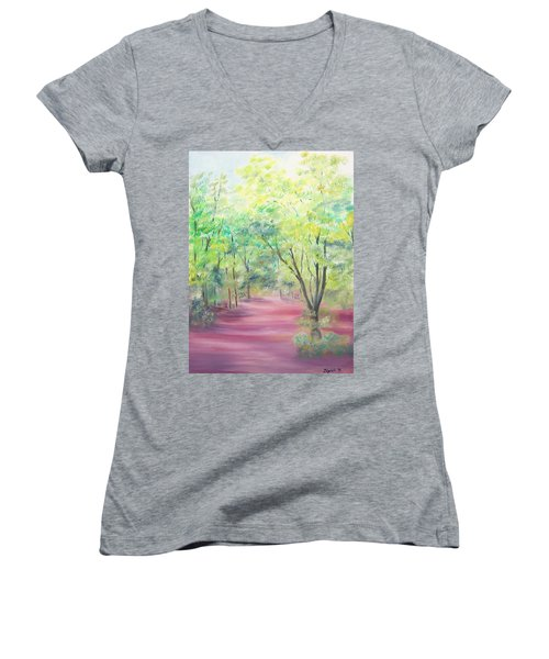Women's V-Neck T-Shirt (Junior Cut) featuring the painting In The Park by Elizabeth Lock