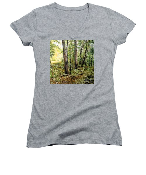 In The Shaded Forest  Women's V-Neck T-Shirt (Junior Cut) by Laurie Rohner