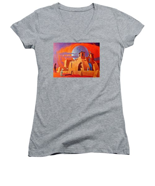 Women's V-Neck T-Shirt (Junior Cut) featuring the painting In The Shadow Of St. Francis by Art West