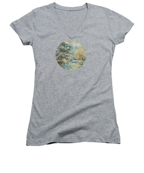 In The Snowy Silence Women's V-Neck T-Shirt (Junior Cut) by Mary Wolf